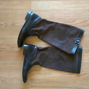Frye Canvas and Leather tall boots